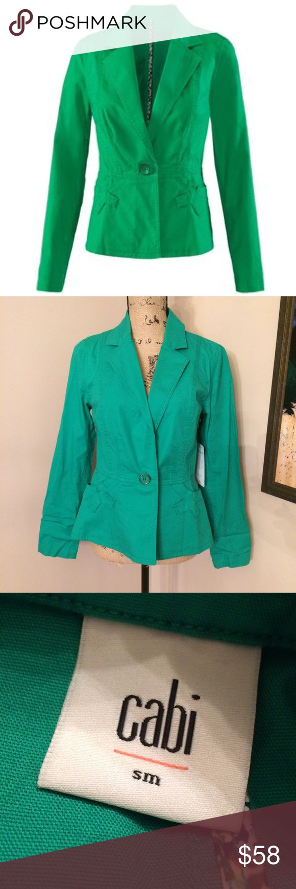 ⚡️1 day sale⚡️Cabi Verde Jacket NWT, sample. Spring 2016. Need a good steaming. 97% cotton, 3% spandex. Machine wash gentle cold and tumble dry low. 🚫No offers. 💰I offer a 10% bundle discount on 3 or more items. CAbi Jackets & Coats Blazers