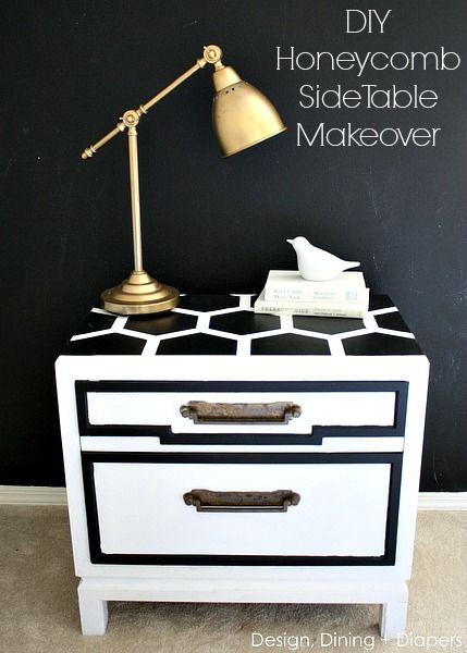DIY Honeycomb Side Table Makeover via designdininganddiapers.com