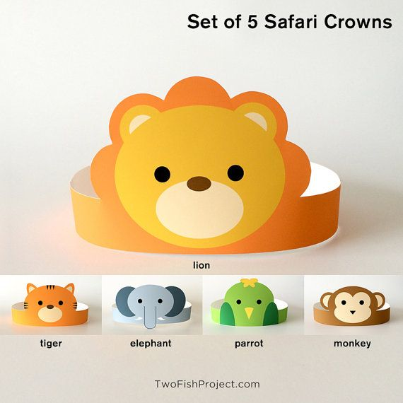 Set of 5 Printable Jungle / Safari Animal Crowns: Monkey, Elephant, Lion, Tiger, Parrot.  These would be great for baby showers, kids birthday parties and craft party favors.