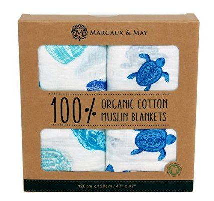 Organic Muslin Swaddle Blanket by Margaux & May - X Large Receiving Blankets - Turtles & Sea Shells - Great Nursery Gift
