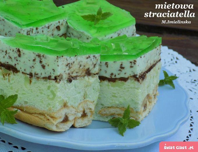 Miętowa straciatella- ciasto bez pieczenia - Swiatciast.pl