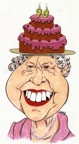 elisabeth 2, reine d'angleterre, royaume uni, 90 ans, anniversaire, gâteau, chrib, chapeau