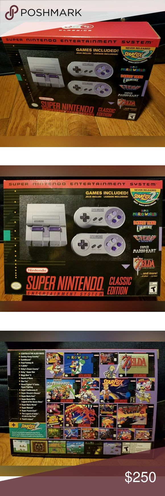 SNES Classic New and never played! Perfect holiday gift!  Included in box:  - Miniature Super Nintendo Entertainment System replica with 21 pre-loaded Super NES games  - Two wired Super NES Classic Controllers  - One HDMI cable  - One USB cable with AC adapter  - Operations manual (with a poster on the back!) Nintendo Accessories