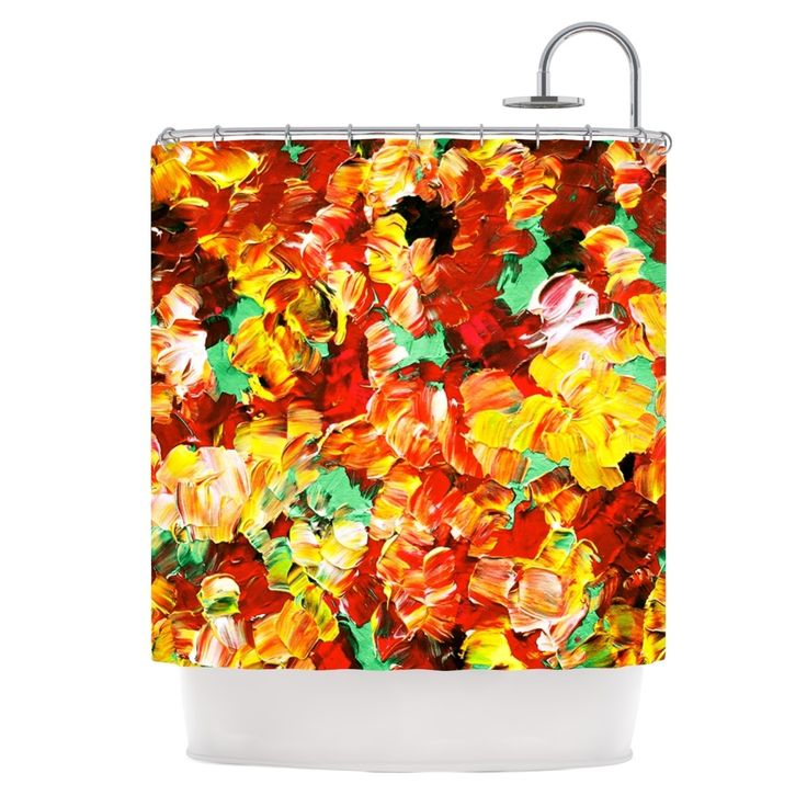 "Kess InHouse Ebi Emporium "" Fantasy II"" Orange Yellow Shower Curtain"