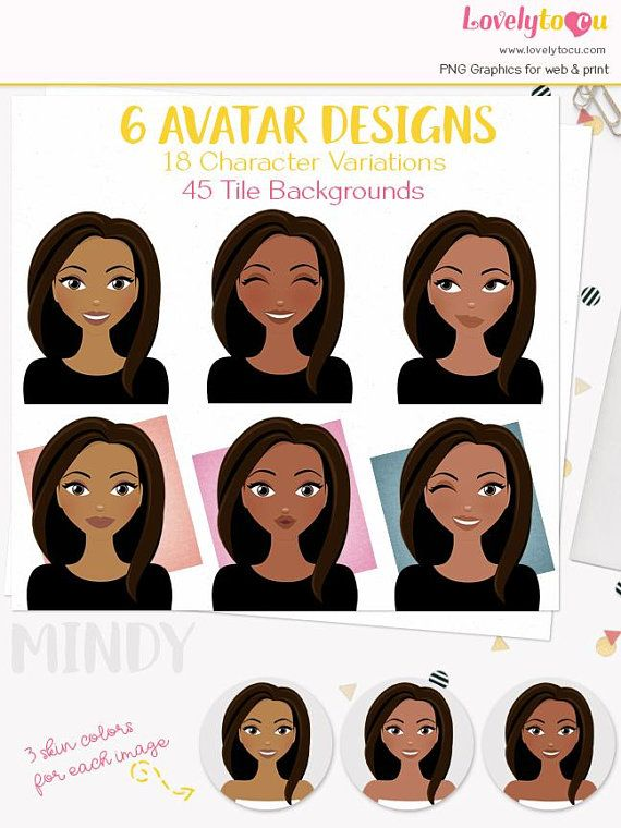 blog pic Mindy L408 PNG clip art expressions portrait personal portrait girl illustration Avatar woman clipart african american