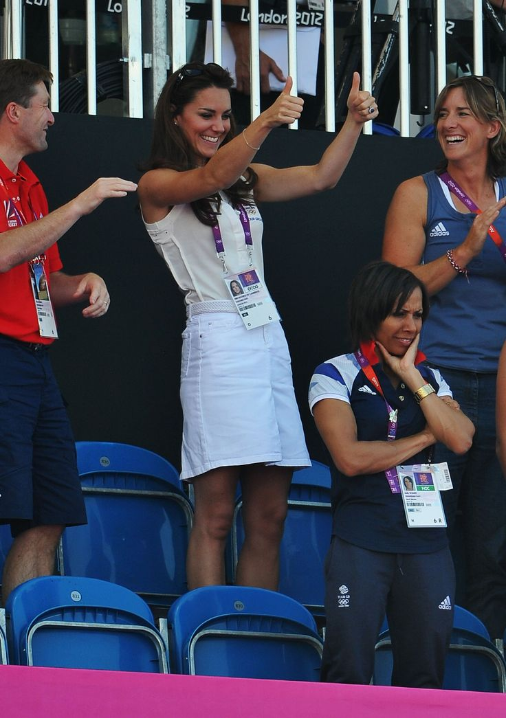 Duchess of Cambridge attends the Women's Hockey bronze medal match between New Zealand and Great Britain on Day 14 of the London 2012 Olympic Games at Riverbank Arena Hockey Centre on August 10, 2012 in London, England.