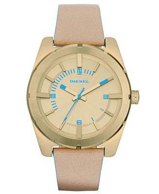 Diesel Watch, Women's Nude Leather Strap 44mm DZ5357 - Women's Watches - Jewelry  Watches - Macy's