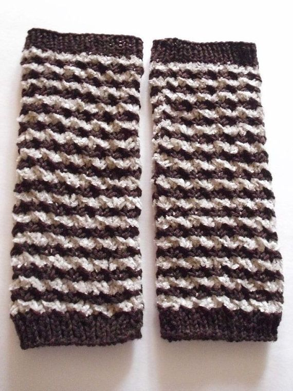 ARM  warmers striped in brown and beige by MarikaHandKnits on Etsy, $42.00