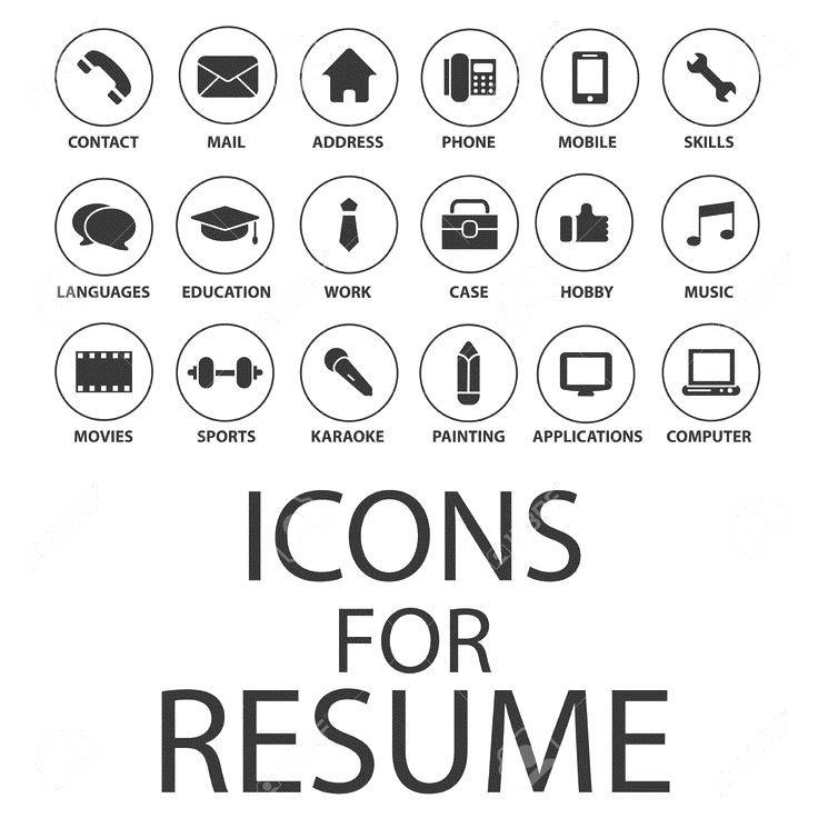 Icons Set Pour Votre Cv Cv Job Clip Art Libres De Droits