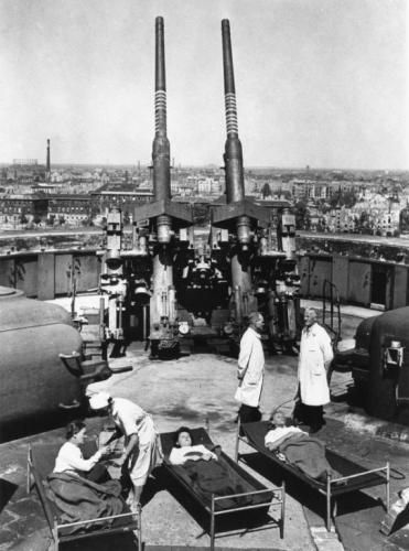 Doctors and patients from the City Hospital atop the Zoo Flak Tower, February, 1945.