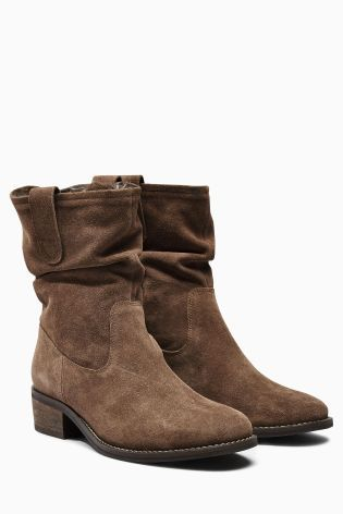 Mink Fur Square Toe Suede Slouch Ankle Boots