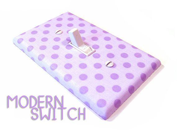 Light Purple Polka Dot Light Switch Cover Girls Bedroom Decor Radiant Orchid Nursery