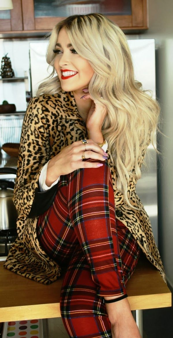 Adorable red plaid  pants and leopard coat