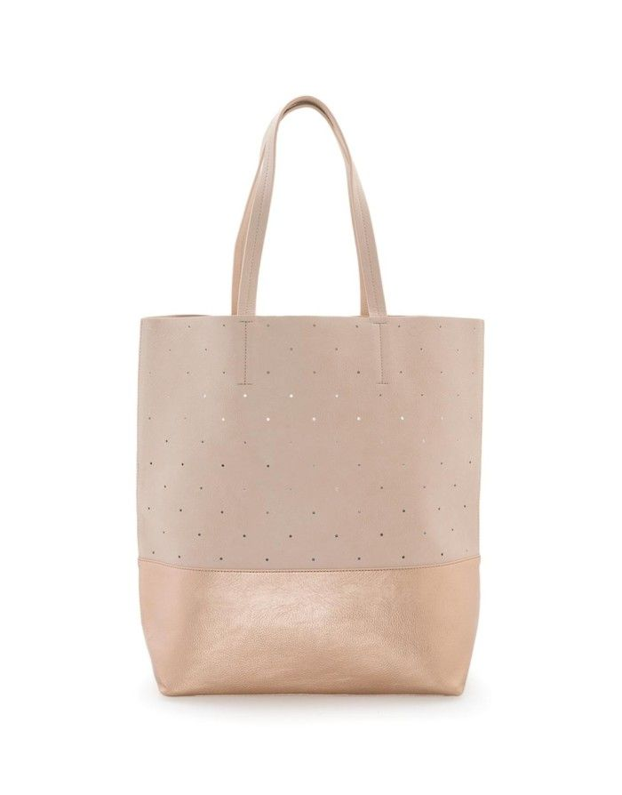 Perforated Contrast Tote