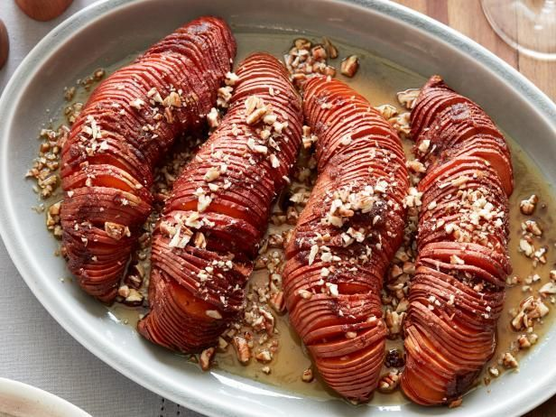 Recipe of the Day: Hasselback Sweet Potatoes Tell Mom you're sorry, but it's time to give her sweet potato side a makeover. These sliced beauties are sure to draw a crowd when they're on the table. They feature all the classic flavors of the beloved casserole, and they're easier to make than you think.