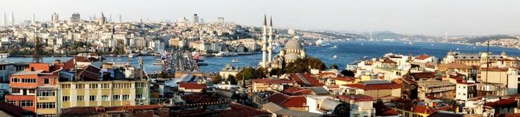"Golden Horn and Bosphorus view from ""Yeni Valide Han"", Eminonu, Istanbul, Turkey"