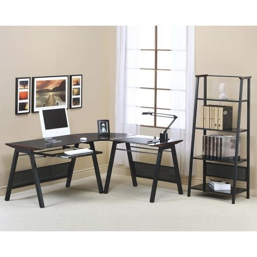 Monarch Specialties Computer desk Xiii L-Shaped Computer Workstation with Pull-Out Keyboard Tray, Size Large