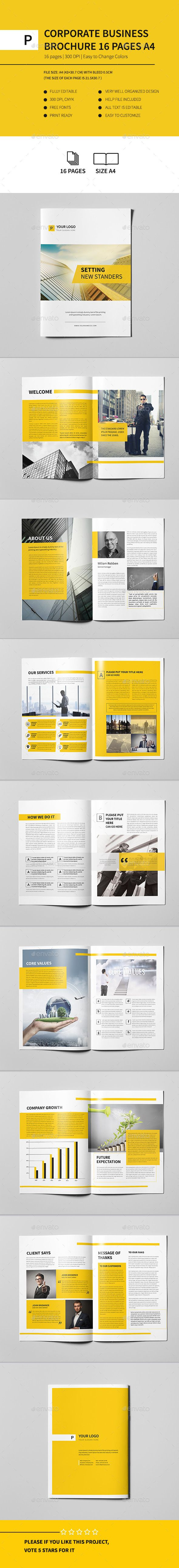 Corporate Business Brochure 16 pages A4  #logo #print ready #format • Click here to download ! http://graphicriver.net/item/corporate-business-brochure-16-pages-a4/12391048?s_rank=985&ref=pxcr