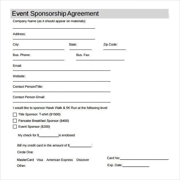 Sponsorship Agreement Template Sponsorship Form Template Templates
