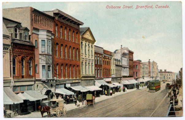 Colborne St, Brantford, Ontario Old days, when downtown was something to enjoy on a Saturday afternoon.  I miss it.
