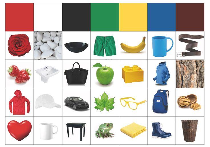A4 pdf s obrázky na přiřazování k barvě.