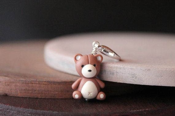 Teddy bear charm, handmade with polymer clay, animal jewelry, one of a kind jewelry handmade gifts for her, burgundypumpkin, cute gift ideas