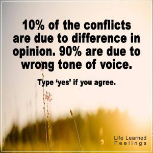 One Life Quotes, 10% of the conflicts are due to difference in opinion 90% are due to wrong tone o