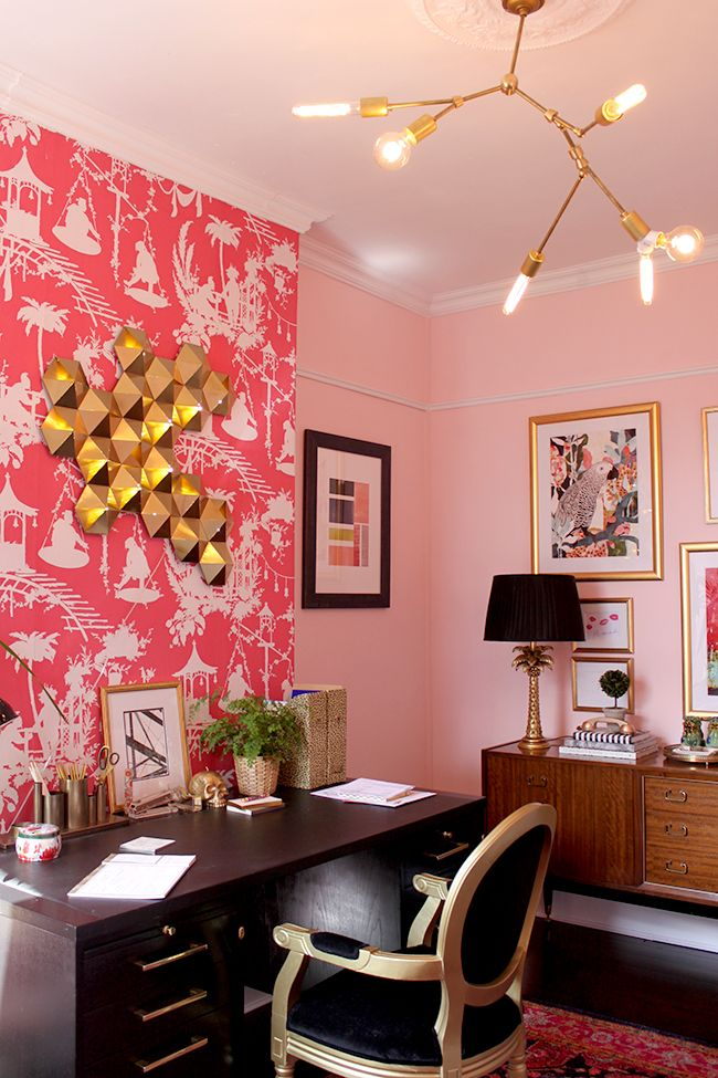 Swoon Worthy Office Pink Walls With White Picture Rail