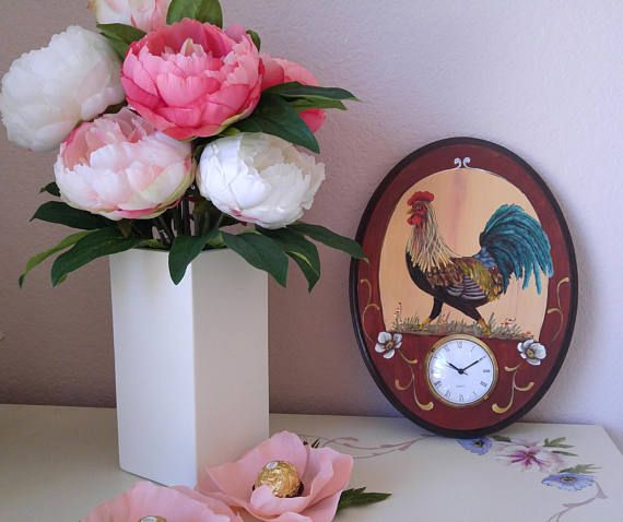 Rooster Accent Vintage Wall Clock Time For a Walk