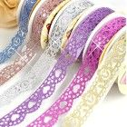 SDBING 3 Roll Washi Glitter Tape Masking DIY Scrapbooking Lace Tape Sticker
