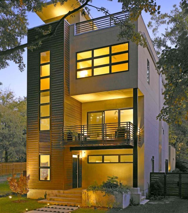 Small lot area modern homes peg pinterest modern for Narrow lot modern modular homes