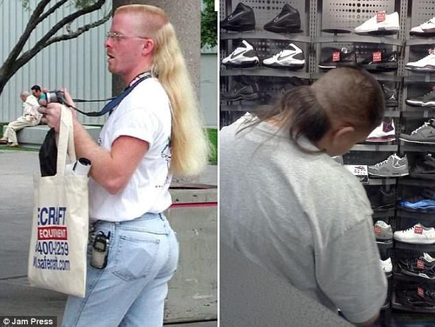 Business in the front, party in the back! A blonde man lets his locks flow down his back, ...