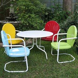 More retro metal tulip chairs with table for my backyard garden! Reminds me of my grandparents house.