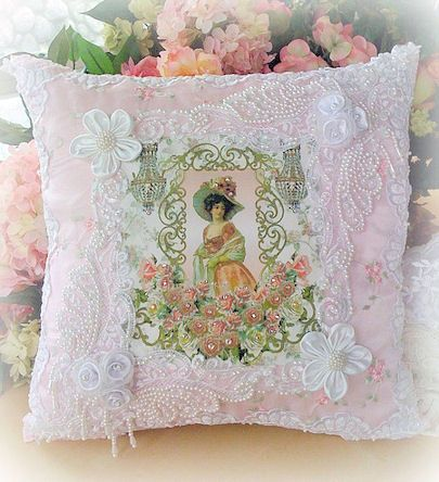 Lady with Chandeliers Romantic Victorian Crystal Roses Cushion - love, love, love!