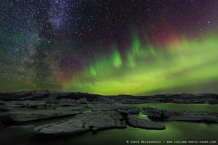 Milky Way and Aurora over Jokulsarlon...