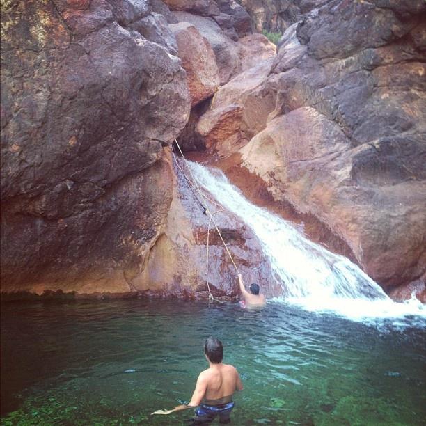 At The Secret Waterslide, Shasta Lake
