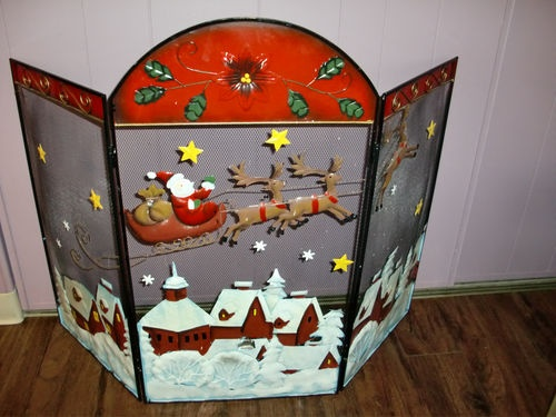 Santa Claus Twas The Night Before Christmas 3 Panel Metal Fireplace Screen Decor Night Metals