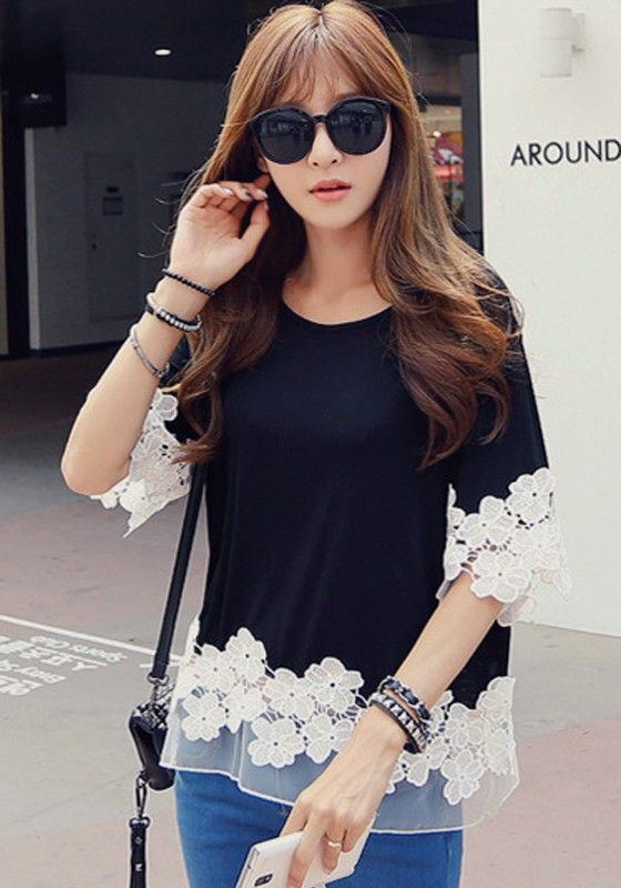 Black Patchwork Grenadine Appliques Flowers Elbow Sleeve T-Shirt - T-Shirts - Tops