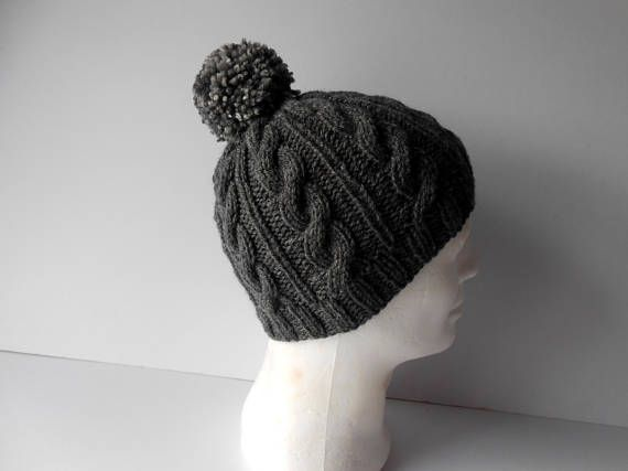 Hats for Men. Knitted Hat. Cable Knit Hat. Hat with pom pom.