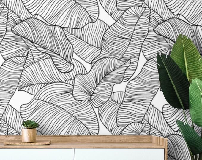 Herringbone Wallpaper Removable Or Traditional Watercolor Etsy Stick On Wallpaper Palm Leaf Wallpaper Peel And Stick Wallpaper