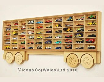 Toy Car Display Shelf TRAILER ONLY - Model Car Shelving Unit, Cubby Hole Storage Car Display. Holds 60+ Cars. Varnished Laquered Plywood
