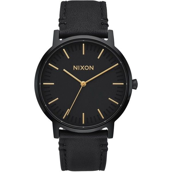 Nixon The Porter Leather Strap Watch, 40Mm (170 CAD) ❤ liked on Polyvore featuring jewelry, watches, leather-strap watches, nixon watches, rugged watches, nixon jewelry and nixon wrist watch