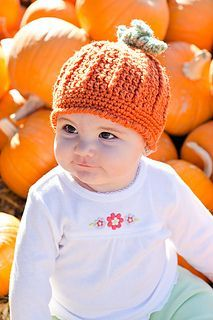 Free Crochet pumpkin hat for 6-12 mo. Pattern