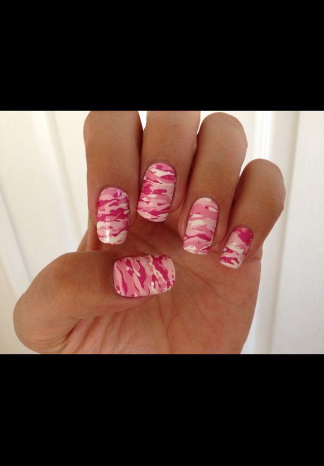 pink camo nails