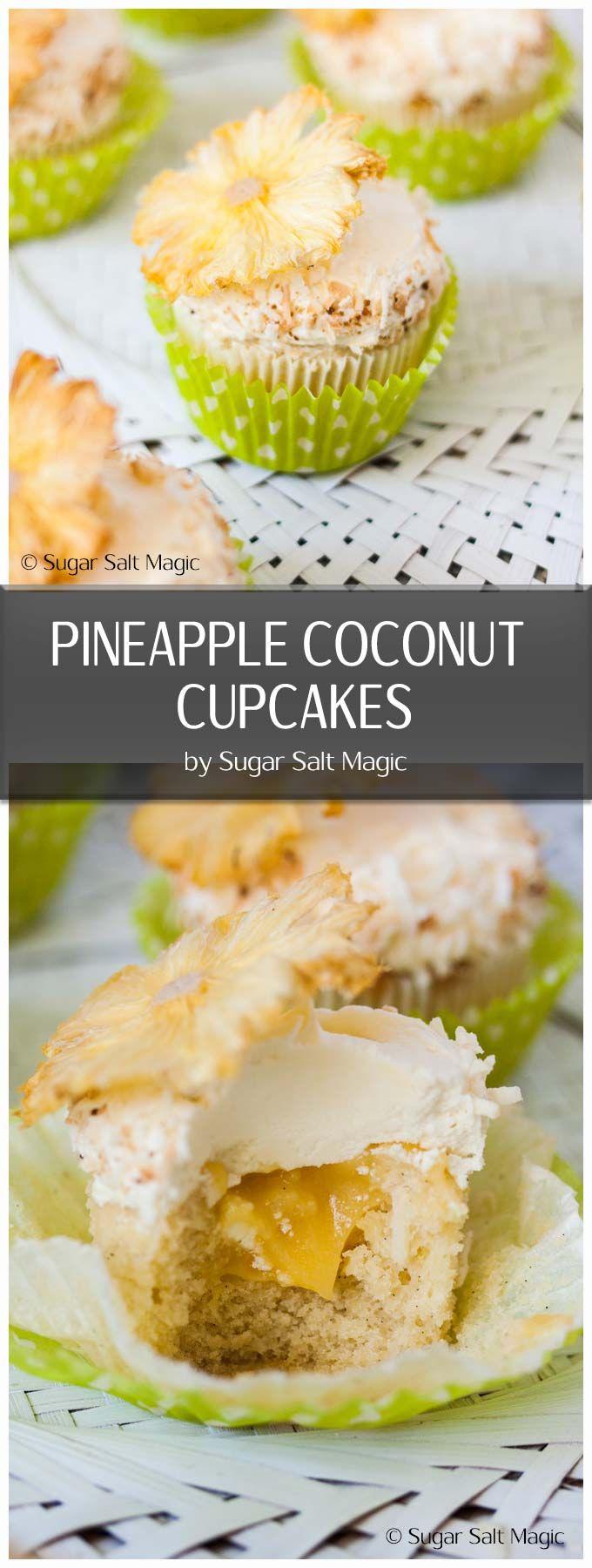 These Pineapple Coconut Cupcakes (aka Pina Colada Cupcakes) are delicious coconut cupcakes filled with homemade pineapple curd. #coconutcupcakes #pinacolada via @sugarsaltmagic