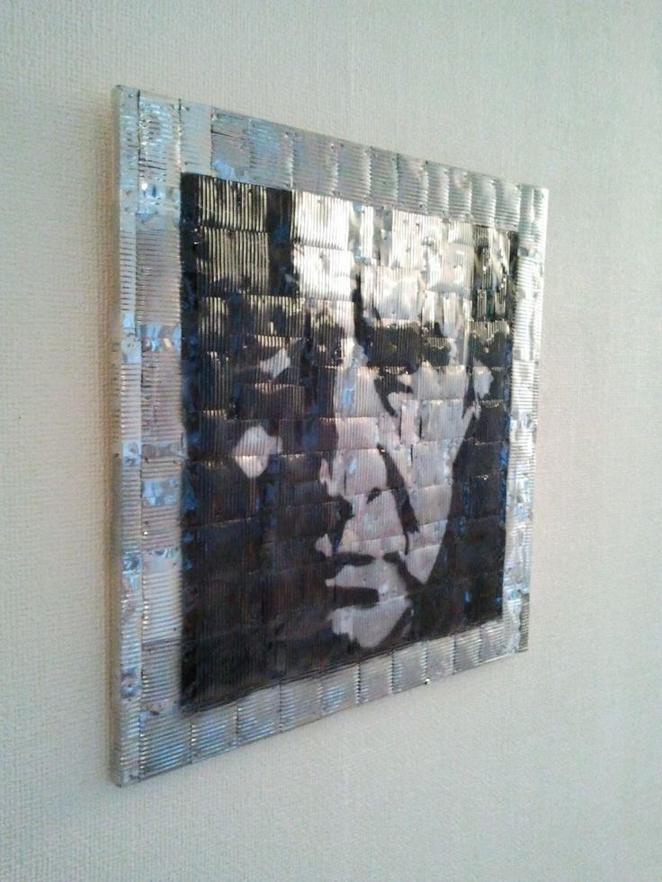 """Blechbild Motiv """"Johnny Cash"""" aus alten Konservendosen (Größe 50x50 cm)"""