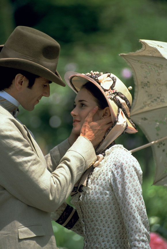 The Age of Innocence (1993) Daniel Day-Lewis as Newland Archer and Winona Ryder as May Welland. Director: Martin Scorsese #CostumeDesign: Gabriella Pescucci