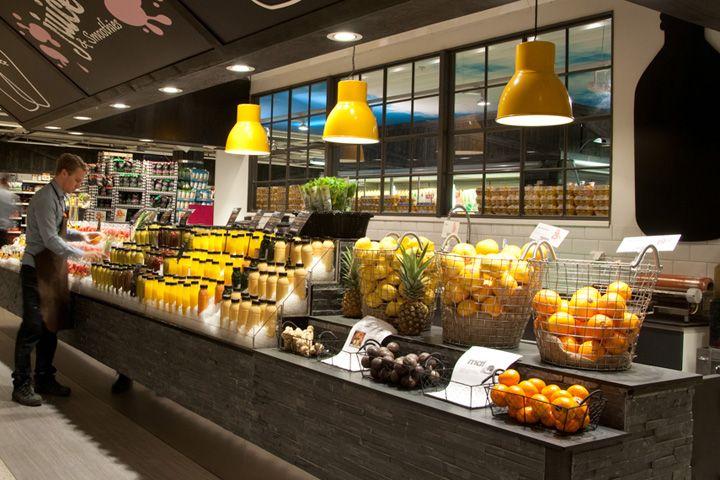 Шведское дизайнерское и производственное агентство IDEI Concepts AB разработало дизайн бара, где подают свежевыжатые соки и смузи, специально для того, чтобы сократить отходы и увеличить доход одного из стокгольмских супермаркетов.
