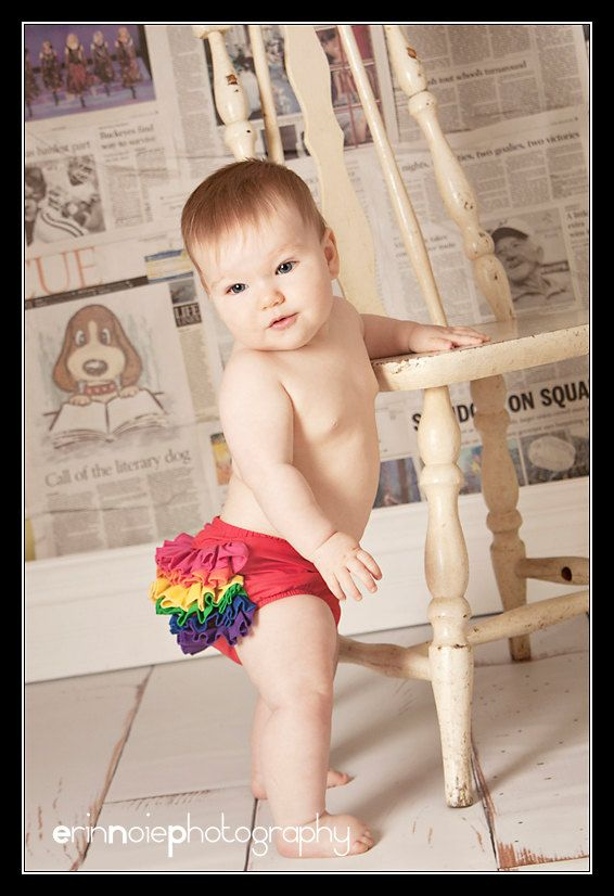 Rainbow Mini Ruffle Panty Diaper Cover Bloomers Fancy Pants. $25.00, via Etsy.
