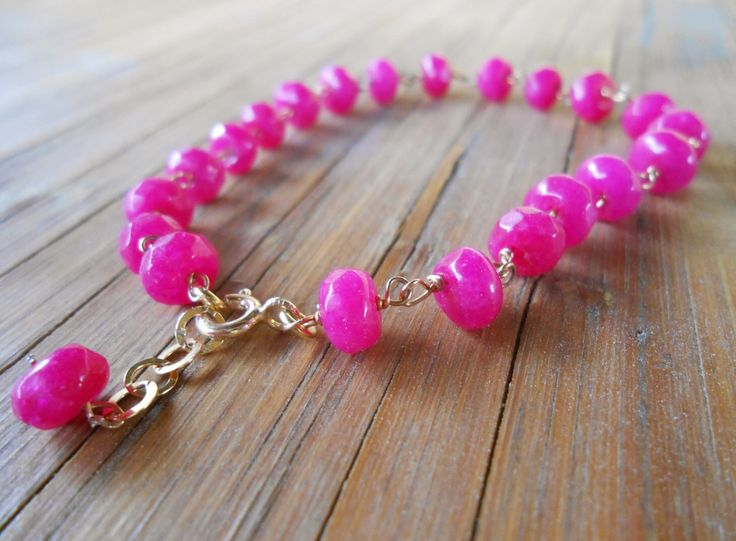 A personal favourite from my Etsy shop https://www.etsy.com/listing/236925879/fuchsia-agate-bracelet-hot-pink-silver